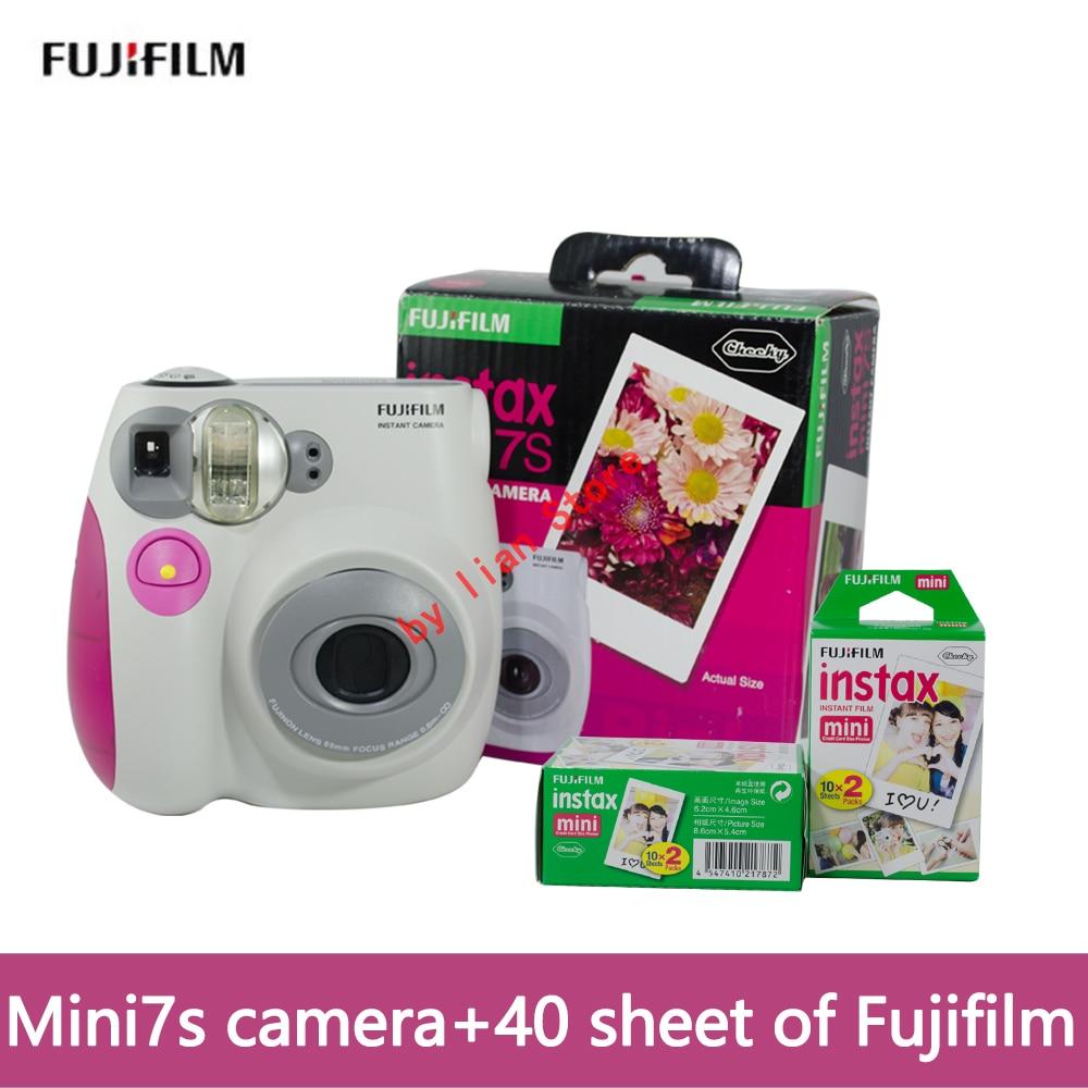 Fujifilm original cámara mini 7 s cámara instantánea + 40 hoja de película de foto de la Cámara de azul y rosa appareil Photo instax mini cámara