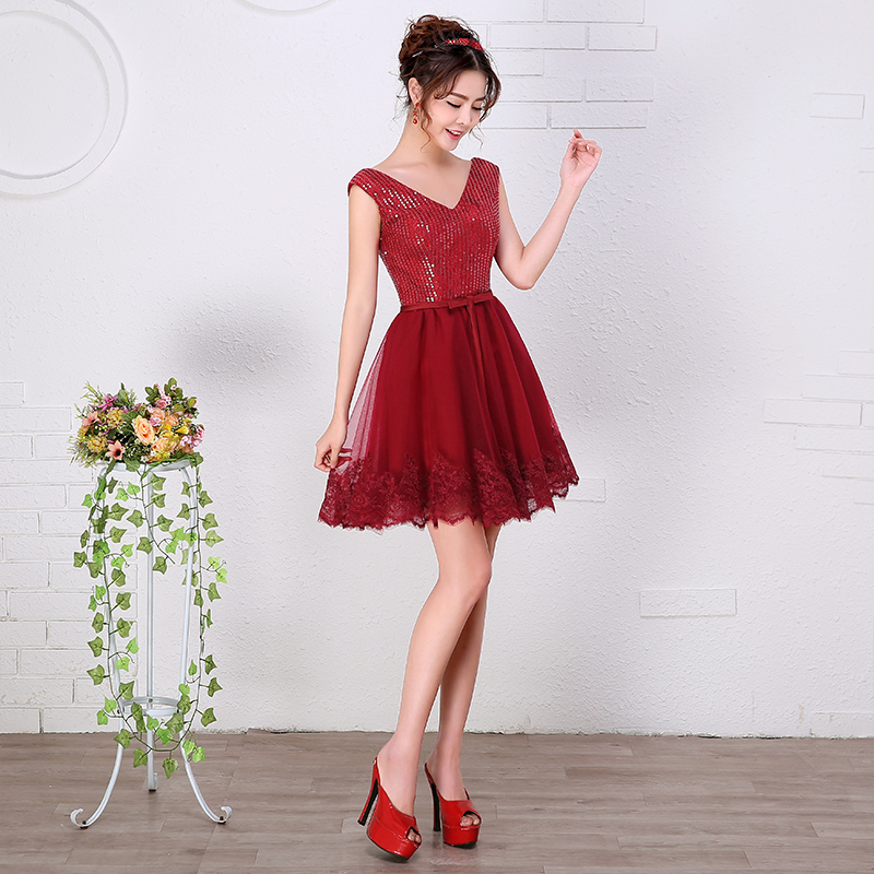 Women Short Burgundy Prom   Dresses   A-line Empire Maternity Chiffon Teens Prom   Cocktail     Dresses   Simple Custom Made   cocktail   kjole