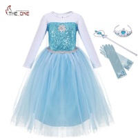 MUABABY Girls Snow Queen Costume Blue Elsa Snow Princess Dress Up With Train Halloween Christmas Party