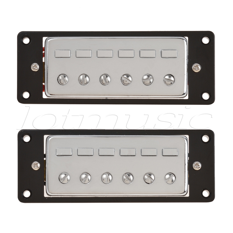 Mini Humbucker Pickups for Electric Guitar Parts Accessories Humbucking Pickup Double Coil Bridge Neck Set Chrome Black Frame electric guitar pickup humbucker for 6 string 6 pieces double coil pickups set neck bridge pickup humbucker double coil