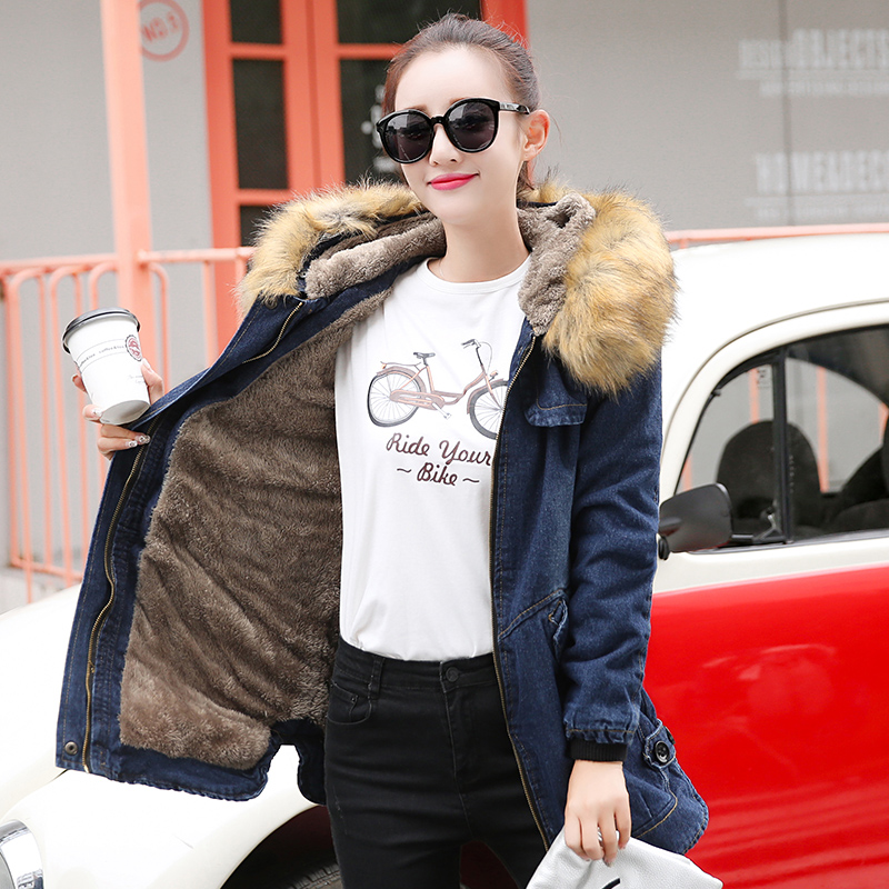 Fashion thicken denim parkas women autumn winter denim jackets lady slim hooded cowboy coats female fur collar warm outwear 7103