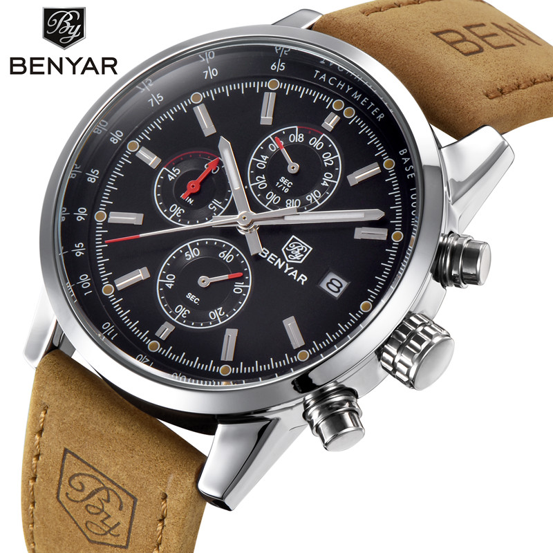 BENYAR 2018 Business Men Watches Brand Luxury Military Chronograph Waterproof Quartz Watch Clock Relogio Masculino Dropshipping naviforce watches for men luxury brand military relogio masculino waterproof clock business noctilucous quartz watches for men