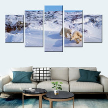 цена на Cute 2 small polar bear poster picture wall art 5 panel for children room bedroom mural