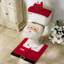 Cover Decor Bathroom-Mat Christmas-Toilet-Seat Xmas Santa-Claus 3PCS Rug