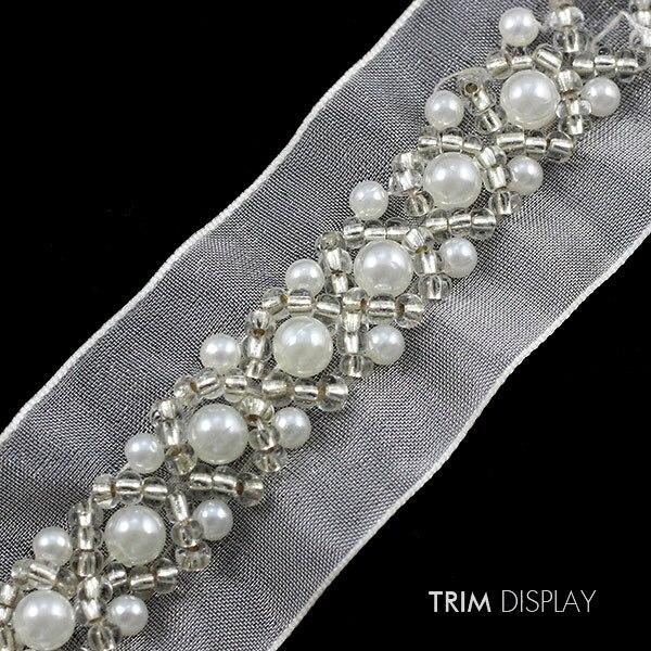 1 Yard Gewebe Perle Perlen Band Nähen Trim Chain Verschönerung für DIY