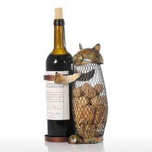 Tooarts кошка винный держатель пробковый контейнер домашний декор железный ремесло подарок ремесло животное орнамент