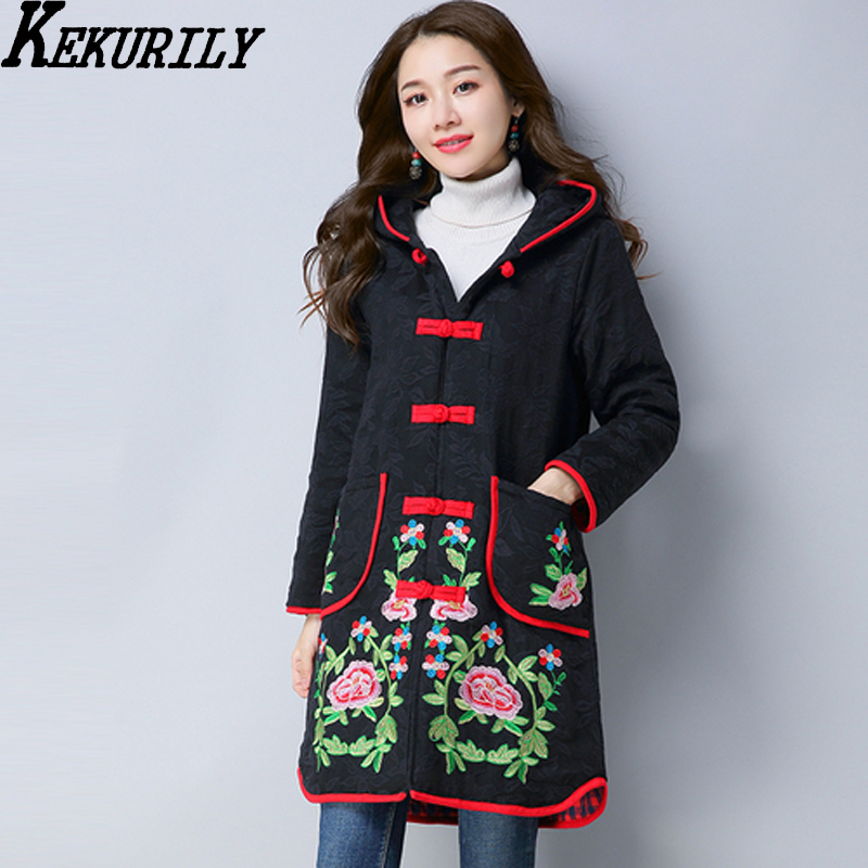 Женская парка 2018 зимняя одежда черный ретро элегантный благородный вышивка китайский пальто толстый хлопок жаккард теплая куртка с ш