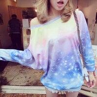 Harajuku galaxy przestrzeń kobiet top bluza drukowane pani galaxy bluzy odzieży wysokiej jakości darmowa wysyłka