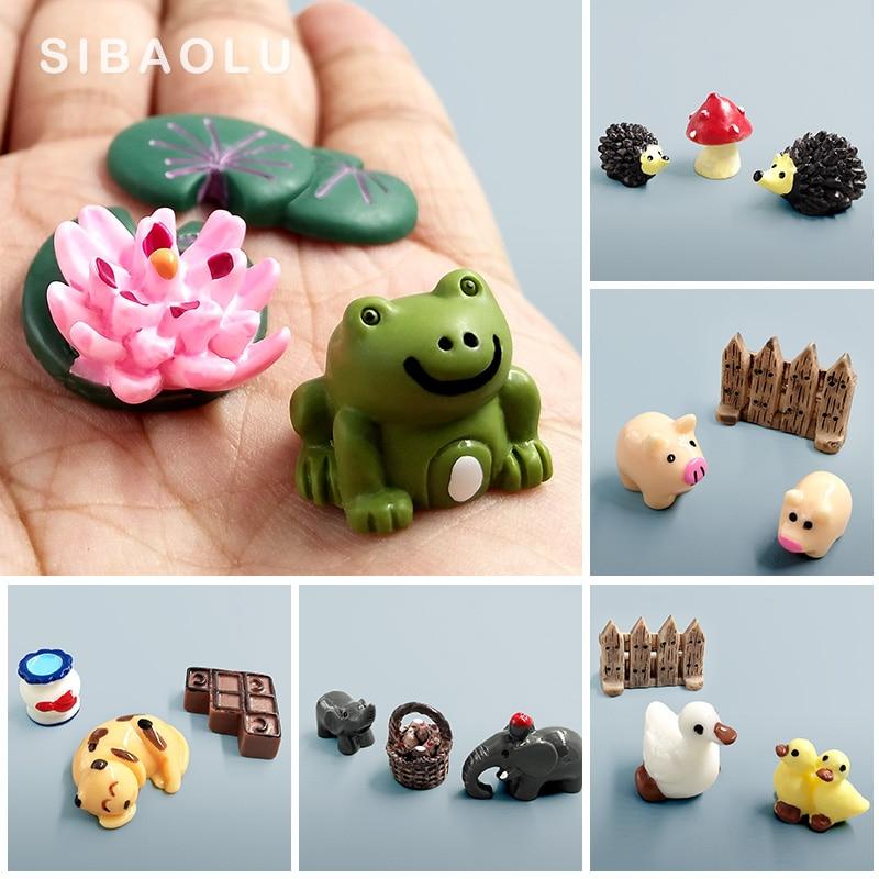 Estatueta de elefante kawaii, vaca, porco, sapo, pato, tartaruga, cão, gato, decoração, mini estatueta de jardim, animais, resina em miniatura, artesanato