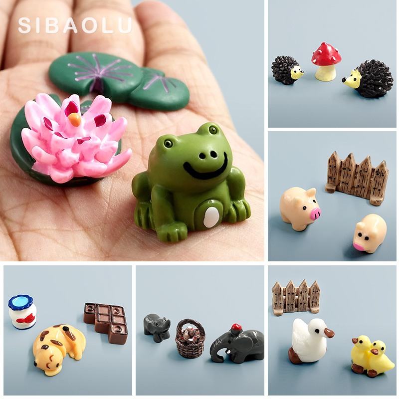 Figure Cow Elephant Pig Frog Duck Hedgehog Turtle Dog decorative mini fairy garden  statue jardin miniature resin craft