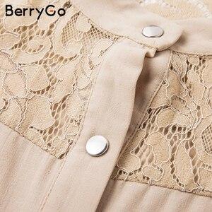 Image 5 - Женское кружевное платье рубашка BerryGo, однотонное Сетчатое офисное платье с вышивкой, длинными рукавами и пуговицами, Летнее мини платье с поясом