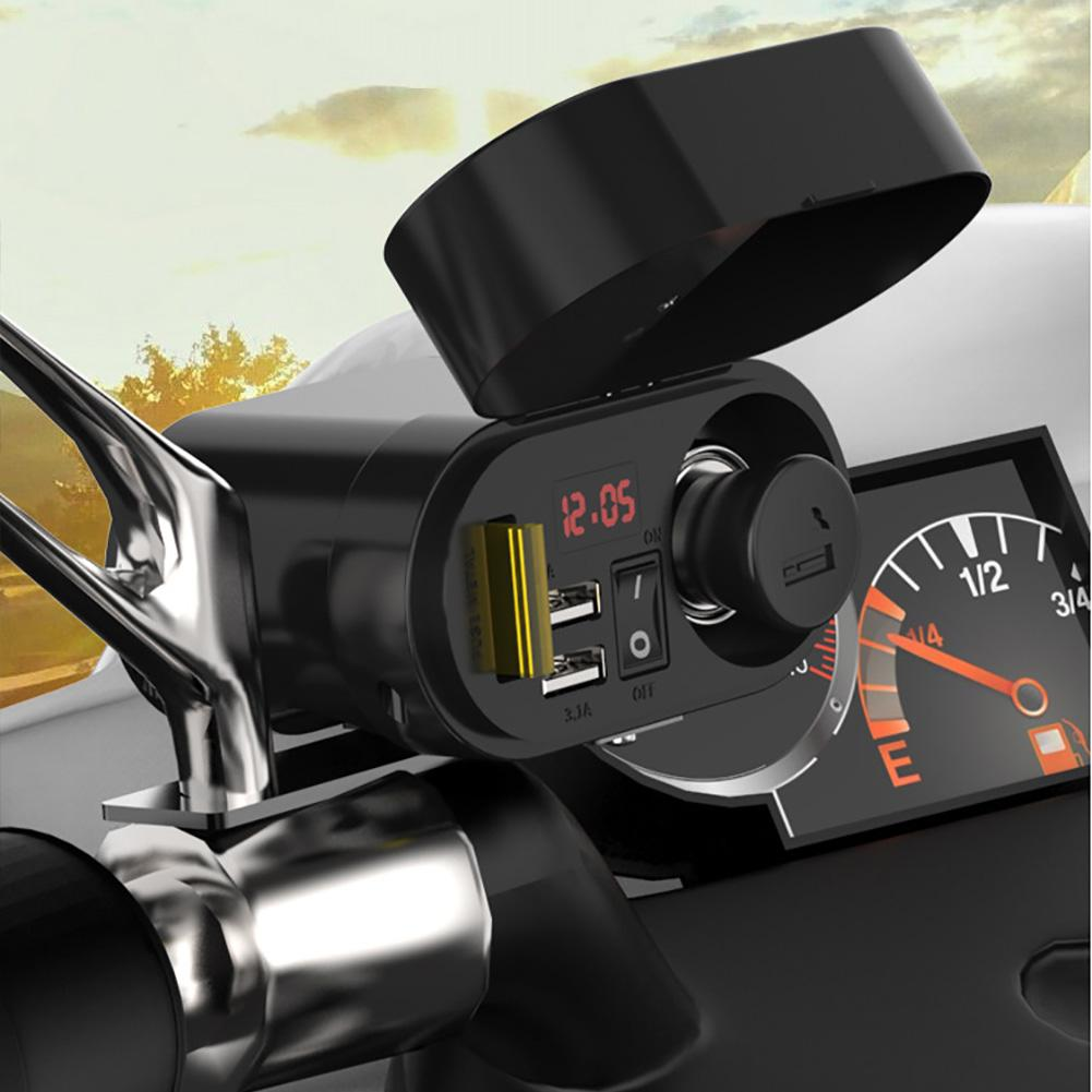Image 5 - Motorcycle Waterproof Charger Power Socket 5V 3.1A Dual USB Outlet Switch Car LED Digital Display Voltmeter Cigarette Lighter-in Cigarette Lighter from Automobiles & Motorcycles