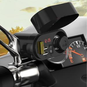 Image 5 - Toma de corriente de cargador impermeable para motocicleta, 5V, 3.1A, salida de USB doble, interruptor, pantalla LED Digital, voltímetro, encendedor de cigarrillos