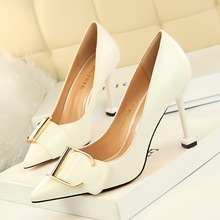 2019 Women Elegant Shallow OL Metal Belt Buckle High Heel Pumps Shoes 9.5CM Thin Heels Slip-On Pointed Toe Office Party Shoes sorbern transsexuals pointed toe slip on women pumps high heel thin metal heels cross dressing shoes fetish unisex shoes 52
