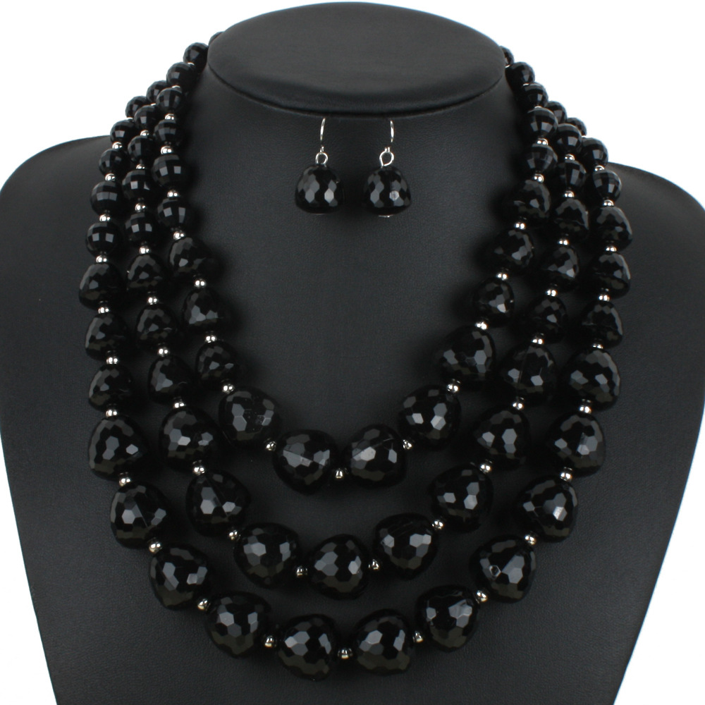 Multi-layer Beaded Necklace and Earring Set