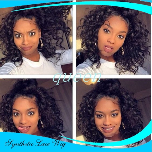 222955d06 Actural sexy Afro kinky curly synthetic lace front wig ,glueless baby hair  anime hair styles short fine hair 22inch Freeshipping