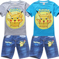 2016 summer boys clothes pokemon go girls clothes set; shorts + short sleeve T shirts kids sport suit; children clothing set