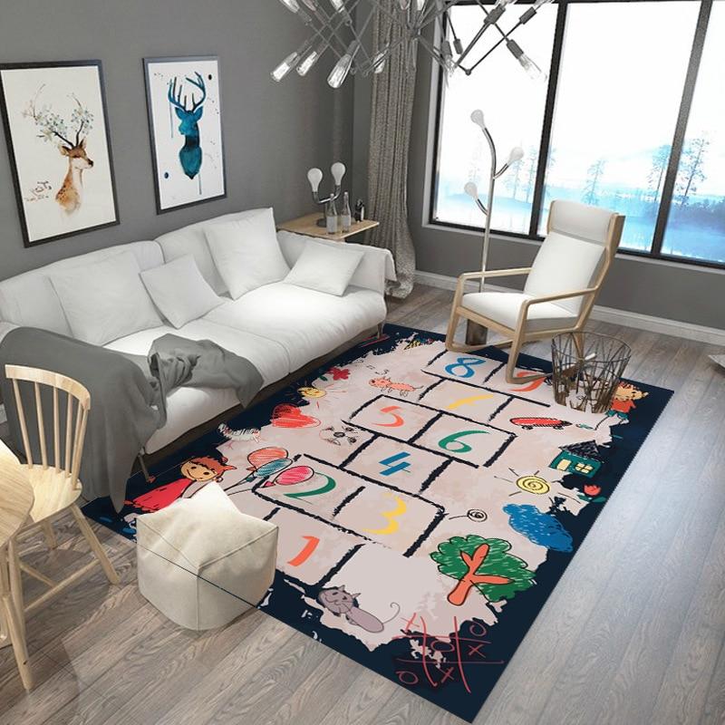 Baby Hopscotch Game Carpets Kids Activity Play Gym Mats Cartoon 3D Print Child Infant Adventure Rugs Develop Intelligence Carpet