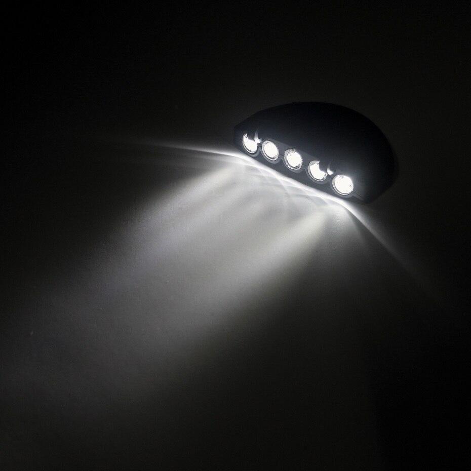 Ultra Bright Head Light 5 LED Cap Light Convenience Headlight Head Flashlight Head Cap Hat Light Clip on Lamp Fishing Head Lamp