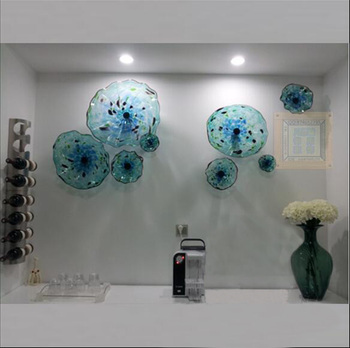 Italian Murano Blue Plates Blown Glass Wall Art Flower Plate for Gallery Decoration 1