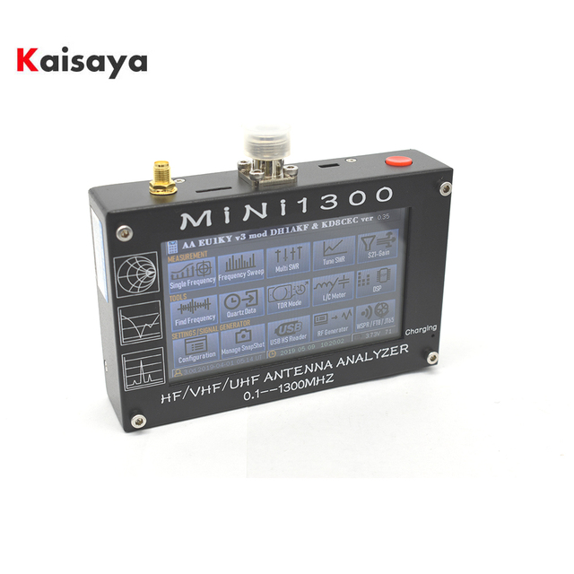 "Mini1300 4.3 ""Touch LCD 0.1 1300MHz 13.GHz UV HF VHF UHF ANT SWRเครื่องวิเคราะห์เสาอากาศ + แบตเตอรี่ชาร์จL3 003"