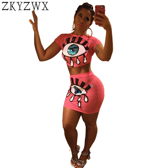 2eb6ad84ad14 ZKYZWX Plus Size Two Piece Set Women Sexy Summer Outfits Bronzing Eyes  Short Tops+Mini Skirts Suits Casual Clothes Matching Sets