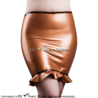 Metallic Golden And Black Trims Mini Sexy Latex Skirts With Ruffles Rubber Bottoms DQ 0028