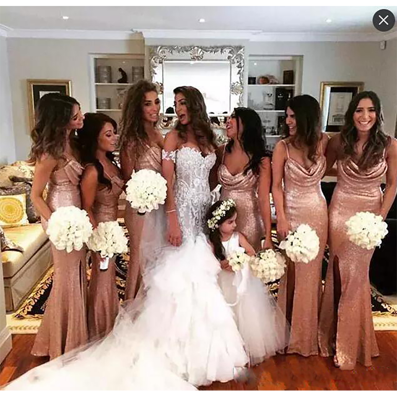 Us 5879 40 Offvestidos Dama De Honor Sequined Rose Gold Mermaid Side Split Bridesmaid Dresses Spaghetti Straps Maid Of Honor Dress Beach Cheap In