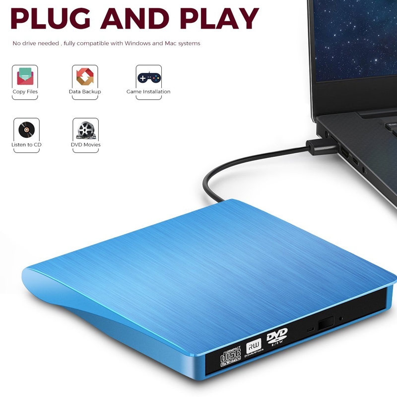 цена на YiYaYo USB 3.0 External Drive DVD-ROM CD-RW DVD-RW Burner Player Portable Reader Slim for Windows7/8/10 Laptop