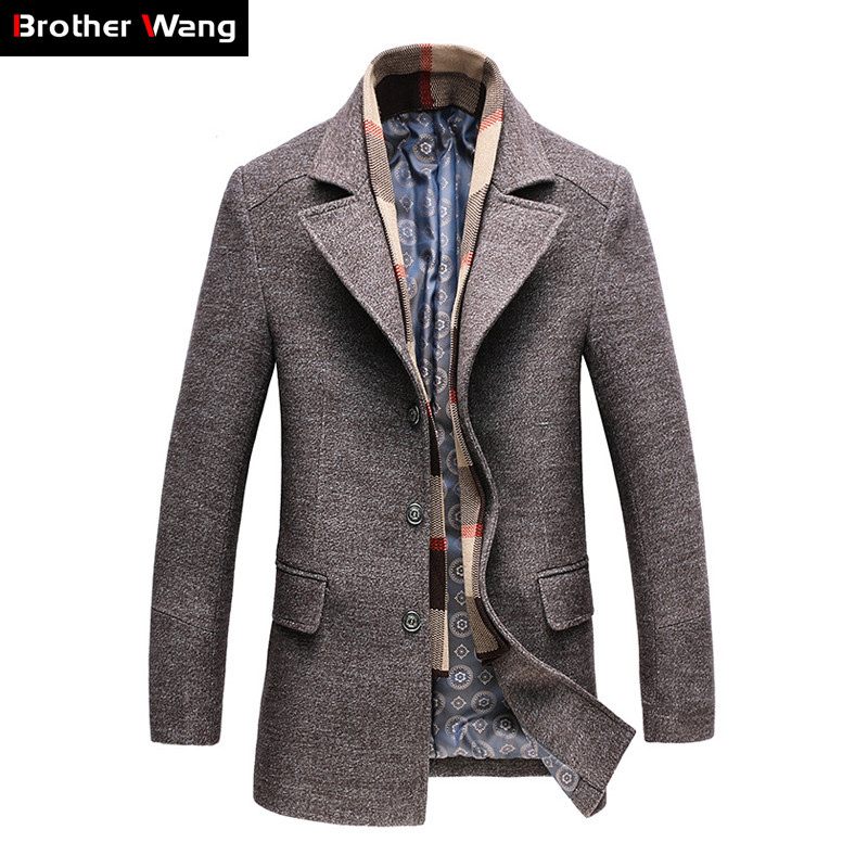 2019 Winter Men's Casual Wool Trench Coat Fashion Business Long Thicken Slim Overcoat Jacket Male Peacoat Brand Clothes 1717(China)