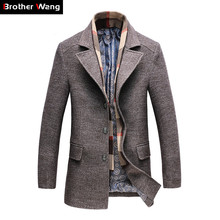 2018 Winter Mens Casual Wool Trench Coat Fashion Business Long Thicken Slim Overcoat Jacket Male Peacoat Brand Clothes 1717 cheap Wool Blends Turn-down Collar Single Breasted Regular Polyester Brother Wang 1177 Broadcloth Wool Polyester Full Conventional