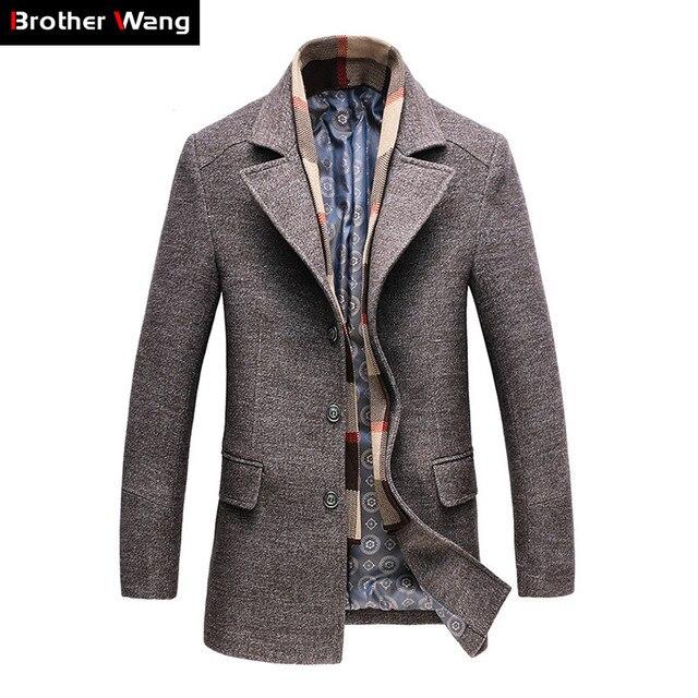 2019 Winter Männer Beiläufige Wolle Graben Mantel Mode Business Lange Verdicken Schlank Mantel Jacke Männlichen Peacoat Marke Kleidung 1717