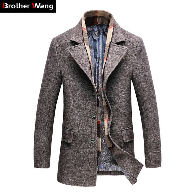 957e8a2e25d6 2019 Winter Men's Casual Wool Trench Coat Fashion Business Long Thicken  Slim Overcoat Jacket Male Peacoat Brand Clothes 1717
