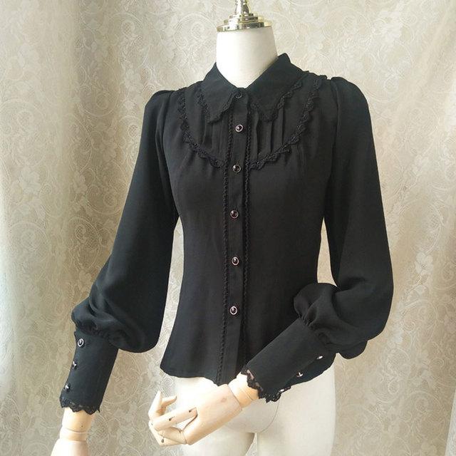64b26b3dfe1446 Women s Gothic Chiffon Button Down Blouse White Black Lolita Shirt with  Pointed Collar