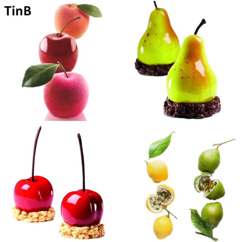 Apple, Pear, Cherry, Lemon Shape Silicone Mold Cake Mold DIY 3D Fruit Mouse Mould Cupcake Cookie Muffin Soap Moule Baking Tools Форма для выпечки