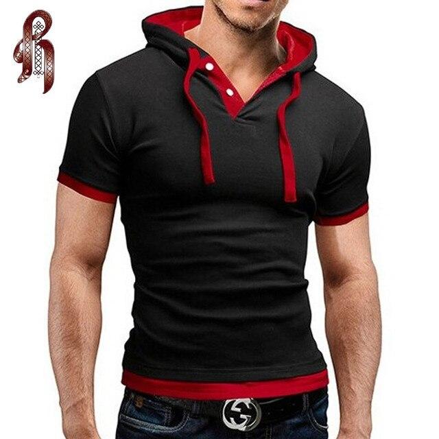 летняя мода с капюшоном слинг с короткими рукавами тис мужской спортивная тонкий футболки мужские футболка майка мужская футболки для мужчин t-shirt компрессионная одежда одежда для men маечка компрессионное белье