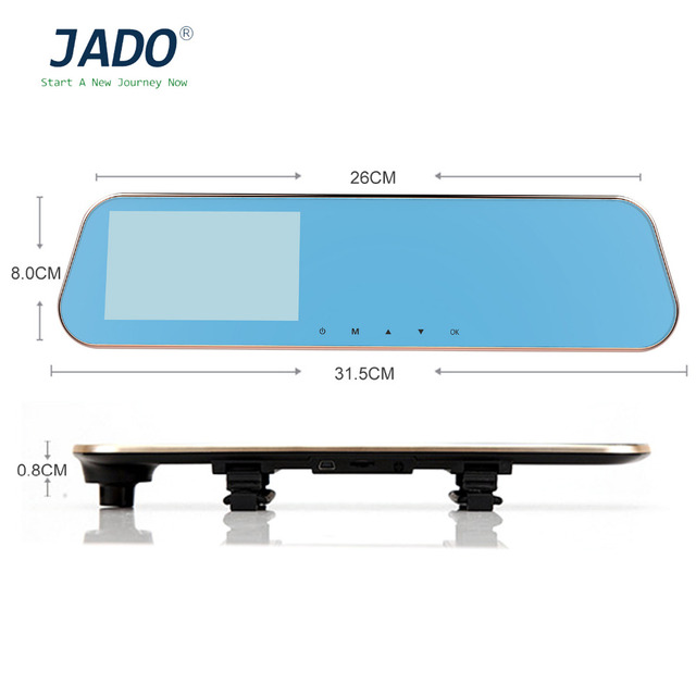 JADO D610S 5.0 Inch TFT LCD Display Dual Lens Rearview Mirror Video Recorder 1080P Video Camera Recorder Dash Cam DVR