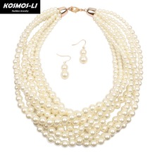 KOSMOS-LI Multi Layer Pearl Strand Collar Necklace New Fashion Imitate Pearl Bead Gold Color Collier Women Party Jewelry 6590