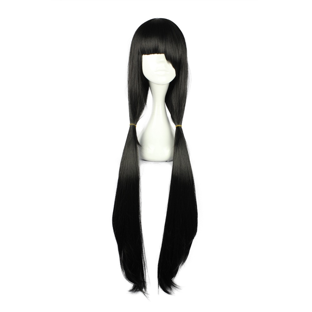 Synthetic Wigs Mcoser 100cm 39.37 Black Long Synthetic Straight Women Girls 100% High Temperature Fiber Wigs Heat Resistent Hair Wig-556c