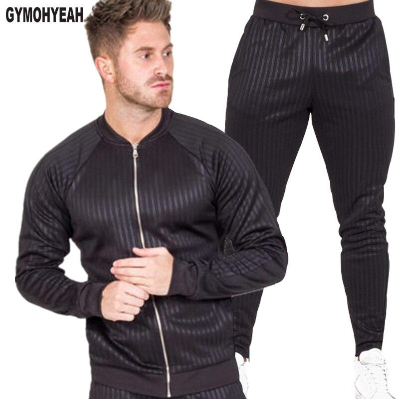 386dba0fc Gymohsí a estrenar otoño Casual hombres conjuntos Moda hombre cremallera  sudadera + Pantalones ...