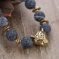 8 mét 10 cái Antique Bạc Phật Leopard Head Bracelet Đàn Ông Đá Tự Nhiên Bị Phong Mã Não Hạt Charm Vòng Đeo Tay Phụ N