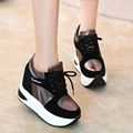 New Women Flats Shoes Round Toe Platform Wedges Causal Comfort PU Lace Up Women Trainers Shoes Breathable Striped