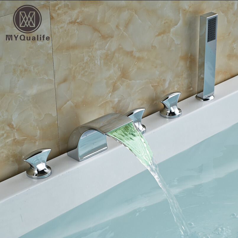 Color Changing Waterfall Bathtub Tub Mixer Faucet Three Handle Widespread Mixer Tap with Handheld Shower free shipping polished chrome finish new wall mounted waterfall bathroom bathtub handheld shower tap mixer faucet yt 5333