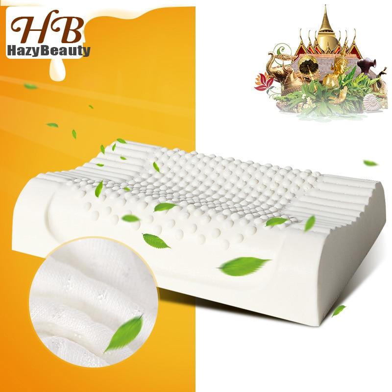 Таиланд натуральная латексная кровать Шейная Подушка забота о  здоровье Ортопедическая подушка для шеи Dunlopillo подушка из латексной  пены для сна AlmohadaПодушки на кровать