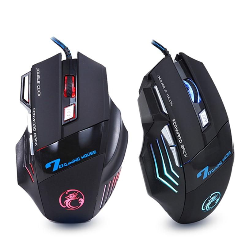 Profissional Wired Gaming Mouse 7 Botões 5500 DPI LED Óptico USB Mouse de Computador Gamer Camundongos X7