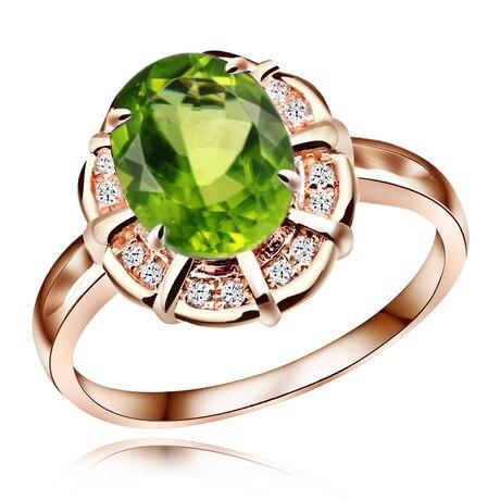 Vert naturel péridot bague en argent 925 cristal Rose plaqué or femme belle façon bijoux élégants reine de naissance cadeau