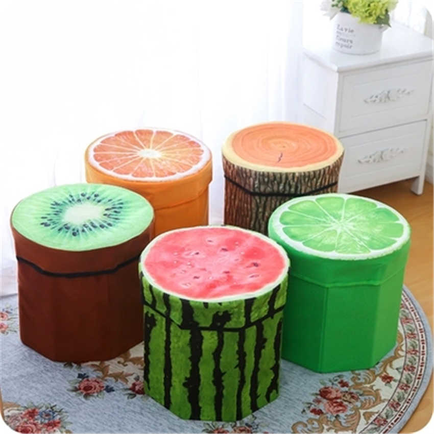 Folding Storage Organizer Ottoman Stool Cute 3D Creative Fruit Velvet Children Toy Storage Box Footstool Seat Fruits Pattern
