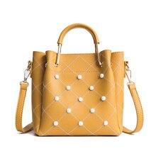 Personality Plaid Casual Tote Bag Female  New Fashion Rivet Shoulder Messenger Bag Solid Color Wild Temperament Bucket Bag