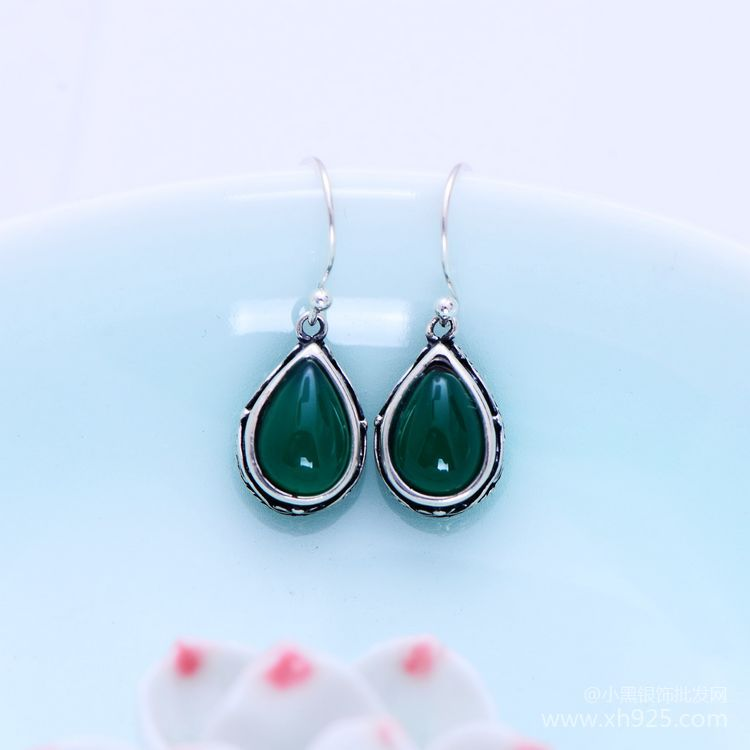 KJJEAXCMY fine jewelry S925 Sterling silver inlaid with green agate earrings for women