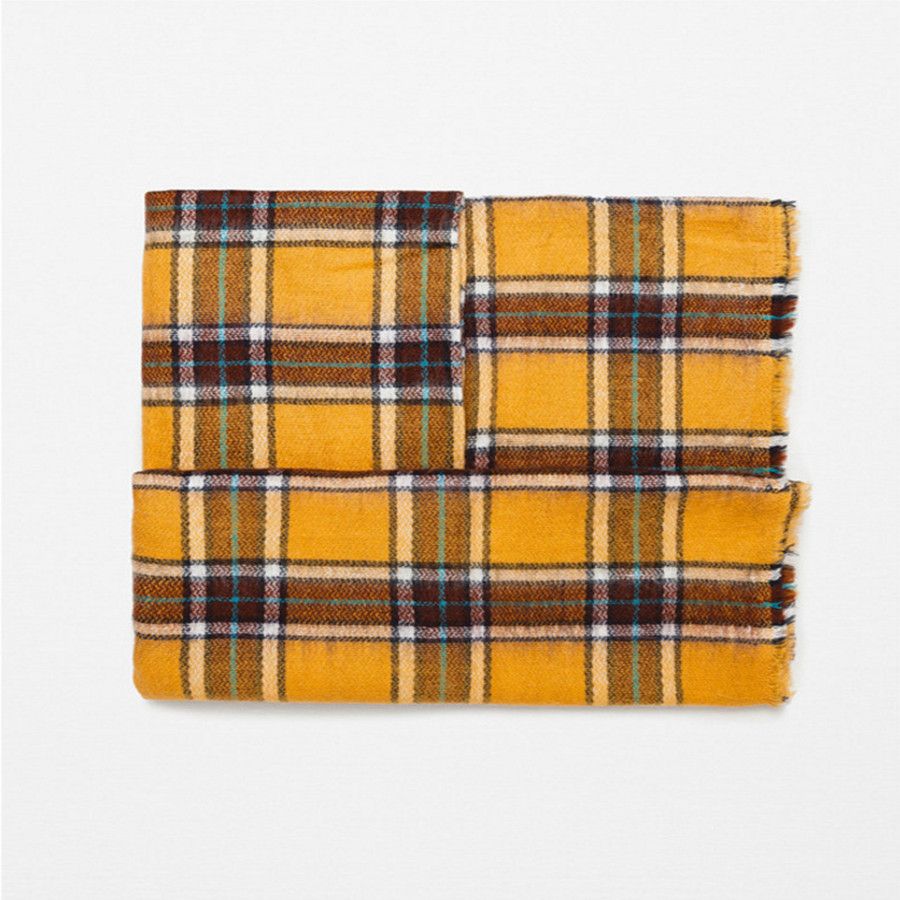 Ode To Joy High Quality yellow Plaid Women Scarf Cashmere Winter Scarf Female Warm font